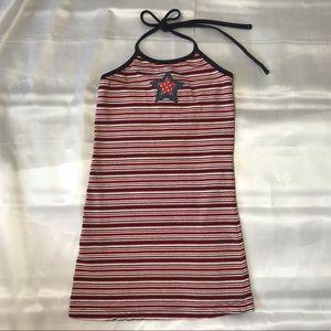 Vintage Strip Star Denim Patchwork Mini Dress